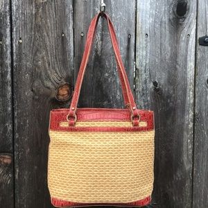 "Brahmin Straw and Leather Bag 9.5"" x 13"""